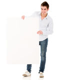 Man holding a banner Royalty Free Stock Images