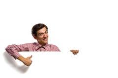 Man holding a banner Stock Photos