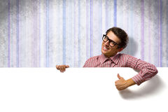 Man holding a banner Royalty Free Stock Photos