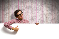 Man holding a banner Stock Photo