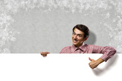 Man holding a banner Stock Image