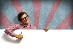 Man holding a banner Stock Photography