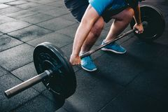 Man Holding Barbell stock photo