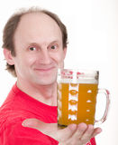Man holding a beer belly Stock Photo