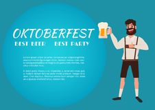 Man holding beer glass. Oktoberfest beer Festival Banner. Royalty Free Stock Photos