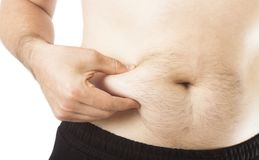 Man holding belly fat. Concept Royalty Free Stock Photography