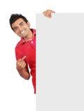 Man holding a big blank card Stock Photos