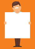 Man holding a big blank sign Stock Photo