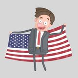 Man holding a big flag of USA. 3D illustration. Man holding a big flag of USA. 3d.Isolate. Isolate. Easy automatic ization. Easy background remove. Easy color Stock Photos