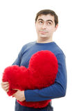 A man holding a big red heart Royalty Free Stock Photo