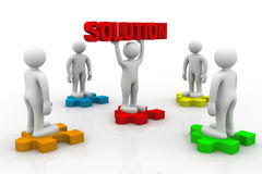 Man holding big red solution puzzle Royalty Free Stock Photography