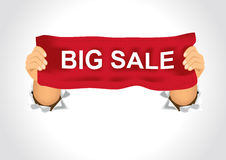Man holding a big sale banner in his two hands Royalty Free Stock Photos