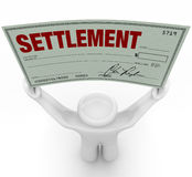 Man Holding Big Settlement Check Agreement Money Royalty Free Stock Image