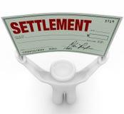 Man Holding Big Settlement Check Agreement Money Royalty Free Stock Image