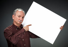 Man holding billboard Stock Photo