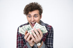 Man holding bills of dollars Royalty Free Stock Photos