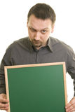 Man holding blackboard Stock Photos