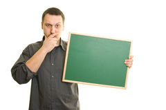 Man holding blackboard Royalty Free Stock Images