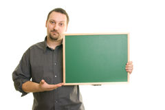Man holding blackboard royalty free stock photos
