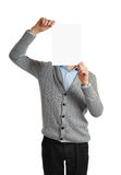 Man holding a blank banner Stock Images