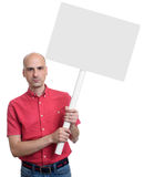 Man holding blank banner on stick. isolated. On white background Royalty Free Stock Image