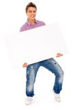 Man holding blank billboard Stock Photos