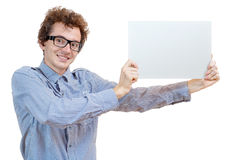 Man holding a blank billboard Stock Images