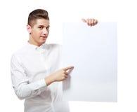 Man holding blank billboard Stock Image