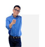 Man holding blank billboard Royalty Free Stock Images