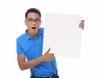 Man holding blank billboard Stock Photos