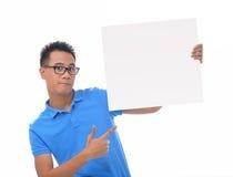 Man holding blank billboard Stock Photography