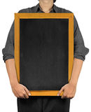 Man holding a blank blackboard Stock Photo
