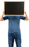 Man holding blank blackboard Royalty Free Stock Photography