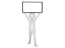Man holding blank board. 3D render Stock Photo
