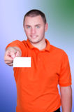 Man holding blank business card Stock Photography