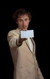 Man holding blank card Stock Photo