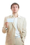 Man holding blank card Royalty Free Stock Photo