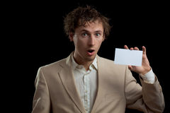 Man holding blank card Stock Image