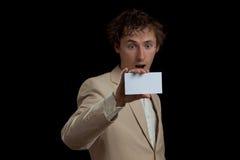 Man holding blank card Royalty Free Stock Photos