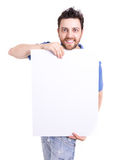 Man holding a blank card isolated on white background.  Royalty Free Stock Photos
