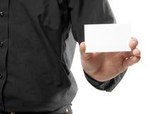 Man holding a blank card Stock Photos
