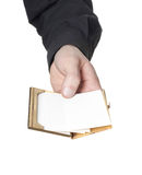 Man holding blank card's Stock Photo