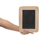 Man holding blank chalkboard in the hand Stock Photography