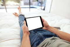 Man holding a blank digital tablet Royalty Free Stock Photography