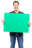 Man holding blank green board Stock Photography