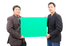 Man holding blank green board Royalty Free Stock Photo