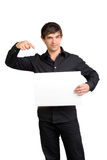 Man holding blank paper Stock Images