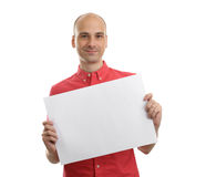 Man Holding Blank Paper Royalty Free Stock Photos