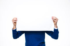 Man holding a blank paper Royalty Free Stock Photo