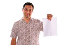 Man holding blank piece of paper Stock Photo